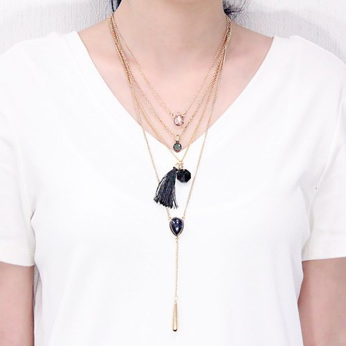 Night Stars │ Multi-layer Black Tassel Necklace