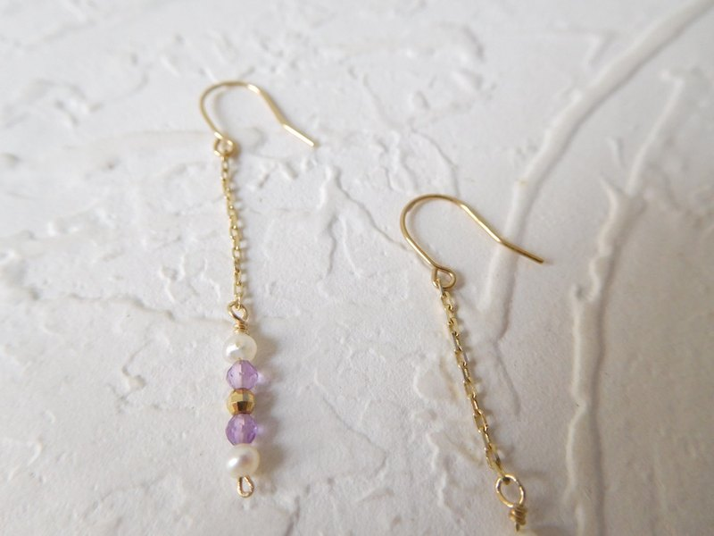 Pure 10K gold mini ear hook pearl amethyst K gold ball earrings