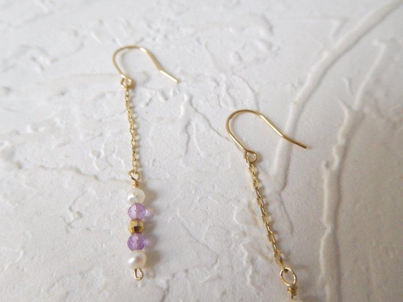 純10K金迷你耳鉤珍珠紫水晶K金球耳環