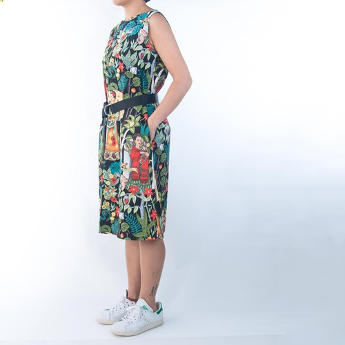 SANTIAGO Sleeveless Dress with Belt - Frida