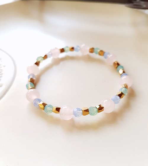 CuFun ◆ Warm Love - rose quartz / Swarovski crystal / brass - bracelet gift custom designs