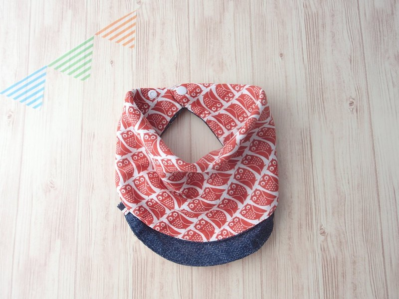 Baby Bib,Reversible Handkerchief Bib,Scarf Bib,Baby Bandana, Red Orange Owl