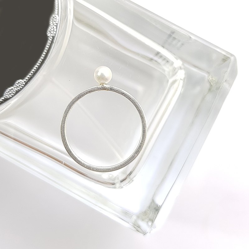 [ColorDay] Square sterling silver natural pearl ring / Pearl / パール