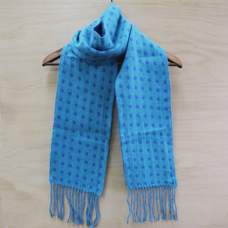 FOAK vintage double sided blue dot scarf