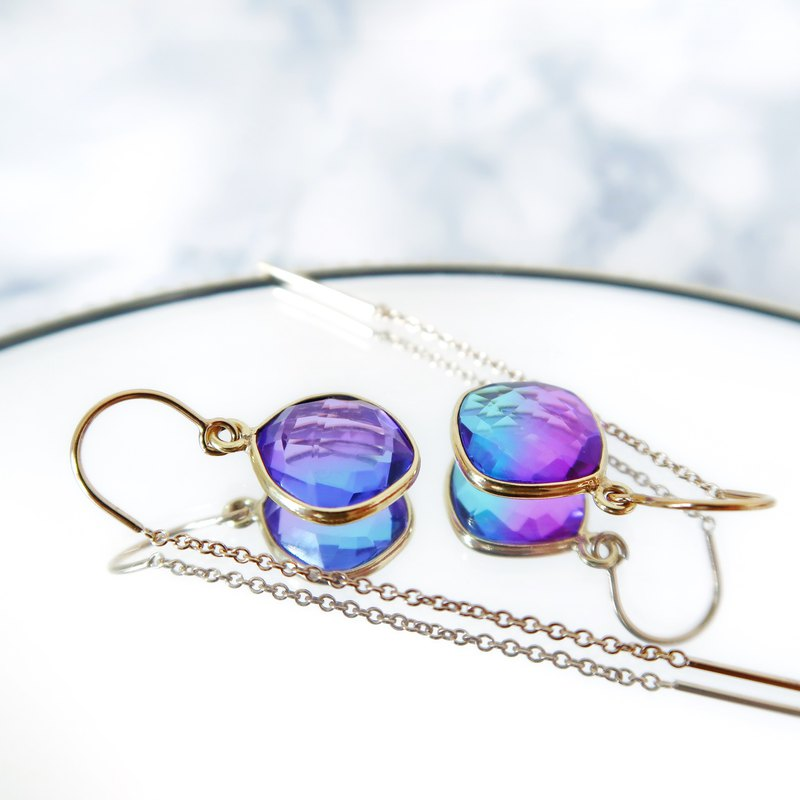 14KGF / PURPLE SKY BLUE QUARTZ LAB CREATED CHAIN ​​EARRINGS