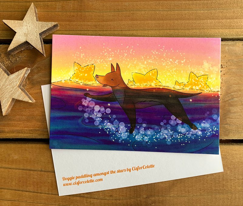 Doggie paddling amongst the stars postcard