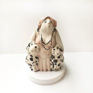 German Dalmatian and owner | Hand painted color healing ornament