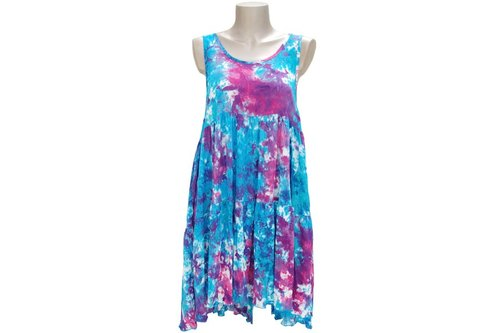 Summer color uneven dyed tank top tiered beach dress <Blue Pink>