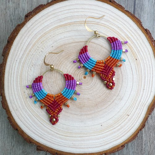 Misssheep-A71-Summer-Bohemian South American Wavy Braided Brass Bead Earrings (Hook/Ear clip)