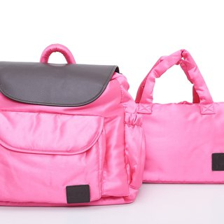 ELSKA leather back portable double bag - 璀璨 rose powder