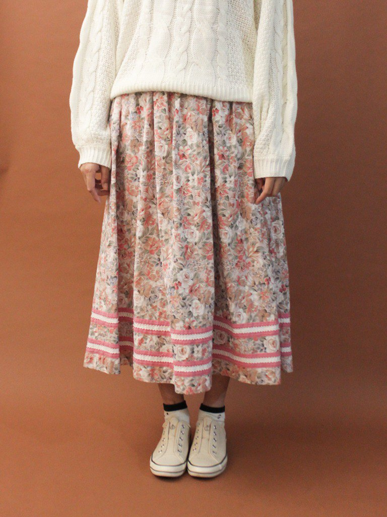 Vintage European Country Forest Cute Pink Flowers Cotton Vintage Dress Vintage Skirt