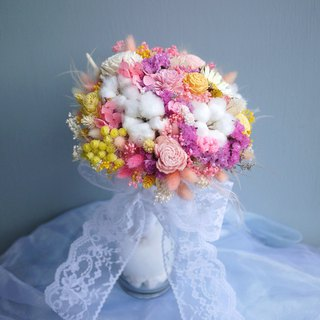 Wedding Collection - Dream pink lace dried flowers bridal bouquet (holding bouquet box)
