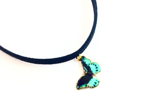 """Classical Butterfly Necklace - Necklace black / green design"""