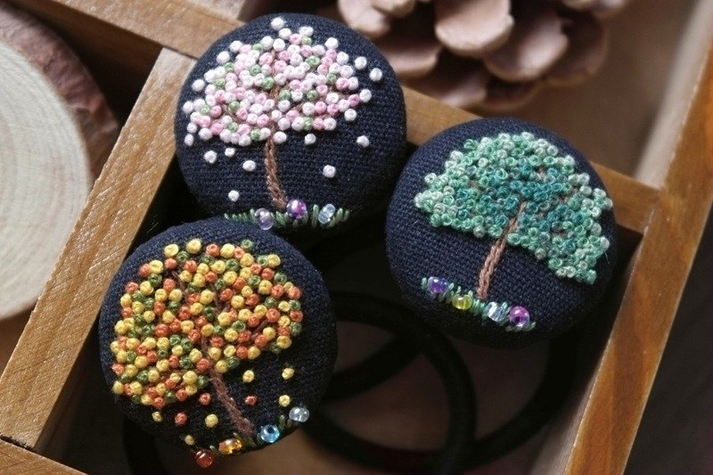 [Psalm tree] Sen female line literary hand-embroidered cotton cloth hair ring hair accessories