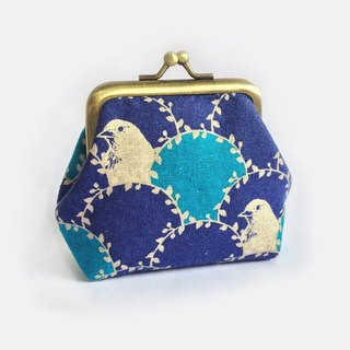 口金包 Coin purse, small kisslock, Bird in Arc, Blue