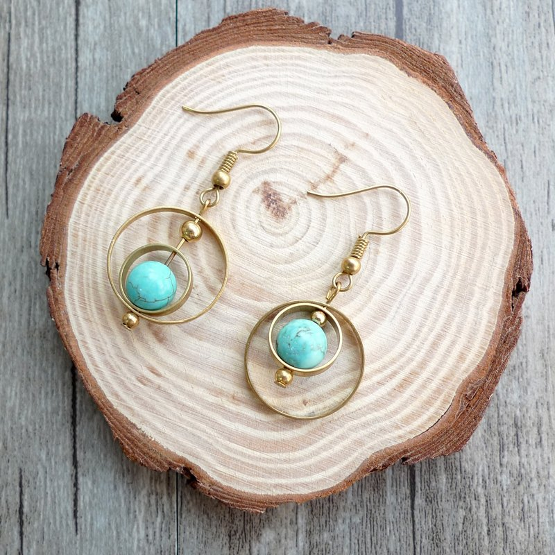 Misssheep-BN15-Natural Mineral Series - Brass turquoise earrings (ear hooks / ear clips)