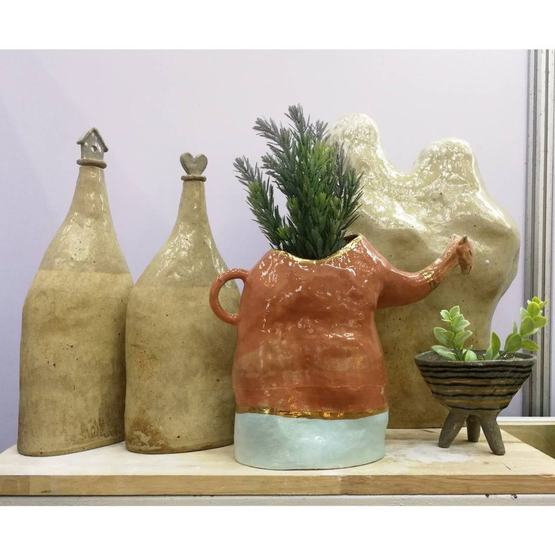 Ceramic bottle l Handmade Bottle l Home Sweet Home