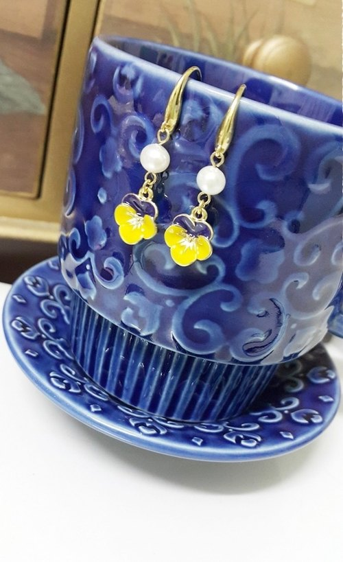 黃色 小花 耳環 Spring Yellow Flower Earrings (E1505)