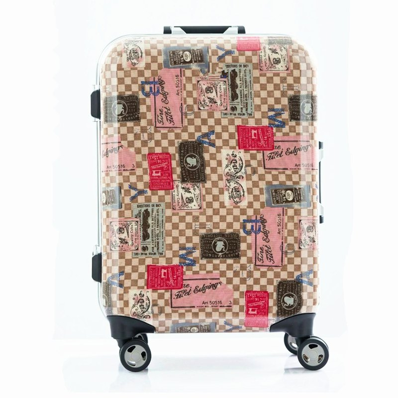 Collection imprint pink - hand-printed fashion aluminum frame 20 吋 suitcase / suitcase