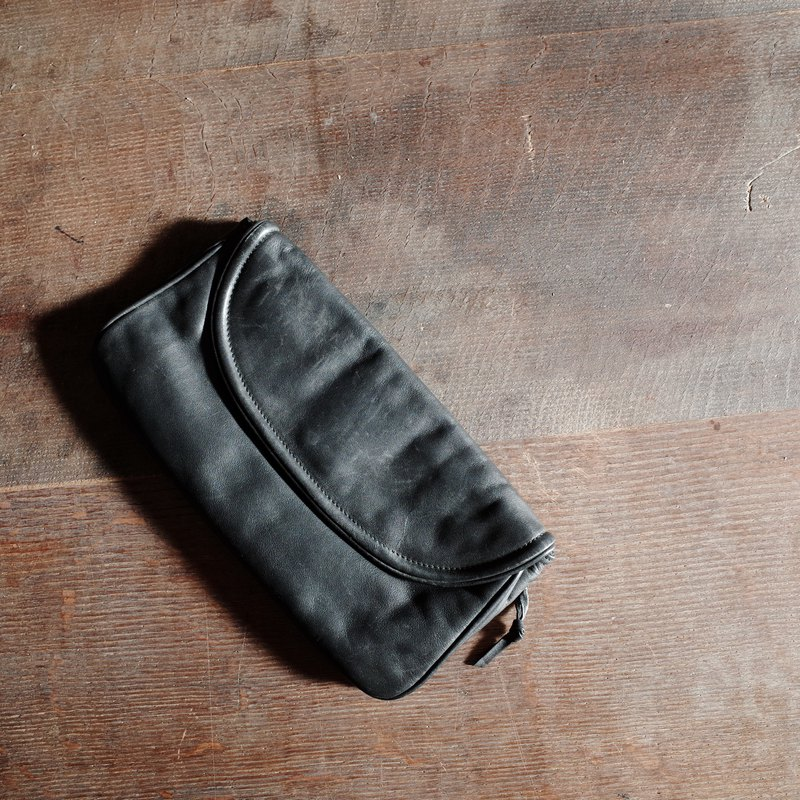 Black leather antique clutch bag Vintage Bag