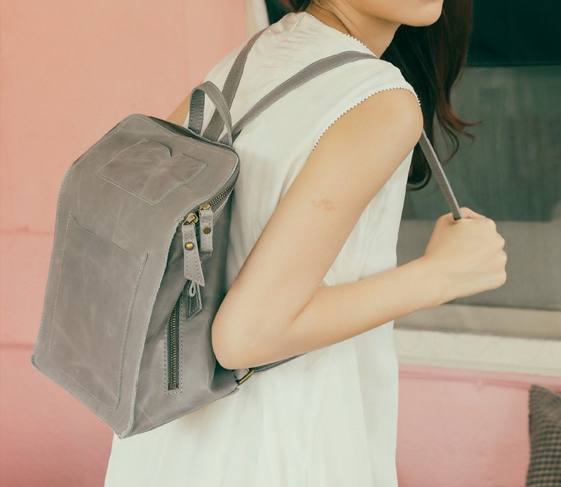 Minimalist square skinny backpack black and gray