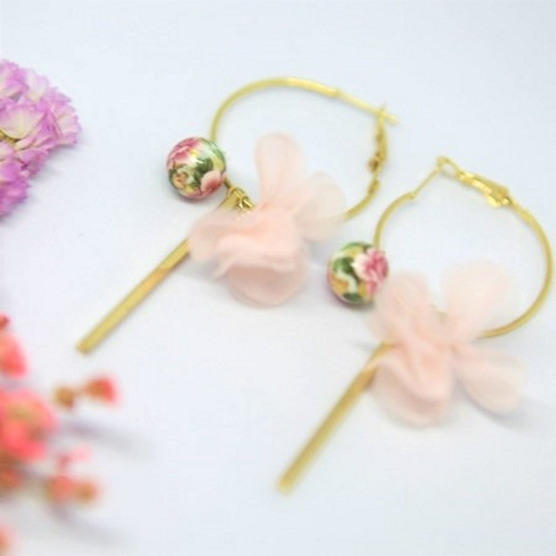 Large circle earrings with Japanese painted beads, flower tassels, golden bar