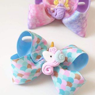 Bonbon Baby Blue Ocean Unicorn Bow Hair Clip