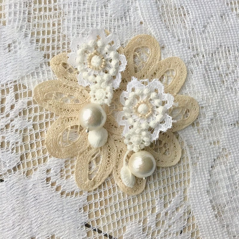 Jt Corner original pure white small fresh chrysanthemum fruit cotton beads lace earrings ear clip ear pin