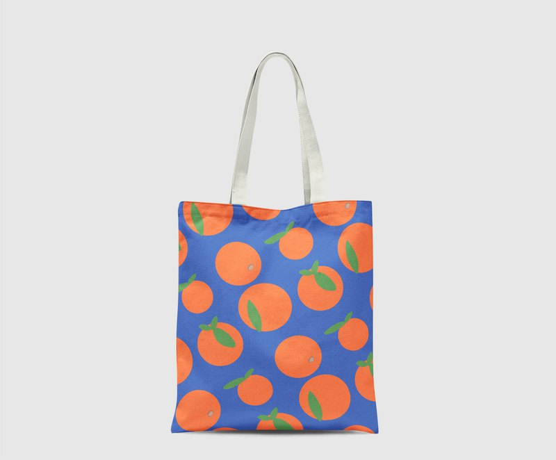 Polka dot Orange Pattern dark blue background Tote Bag hand bag