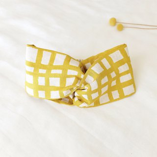 Natural wind wide hair band jump lattice mustard yellow linen