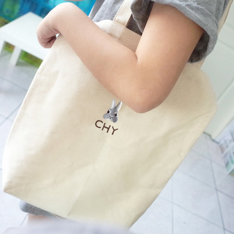 [Q-cute] bag series - straight double handle - dog head, cat head, rabbit head - plus word / customized