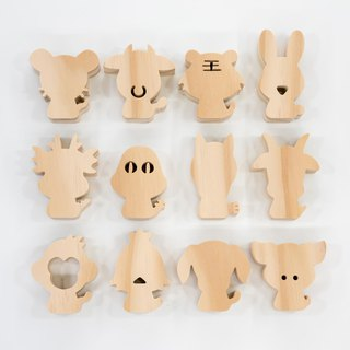 wagaZOO hand cut thick shape modeling blocks 12 Zodiac series - loose wood quality