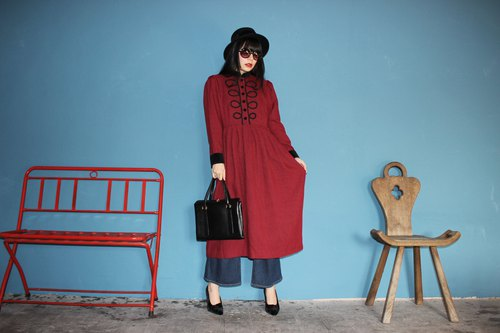[Vintage dress] red black checkered long-sleeved American vintage dress (Christmas gift Christmas exchange gifts) F3131