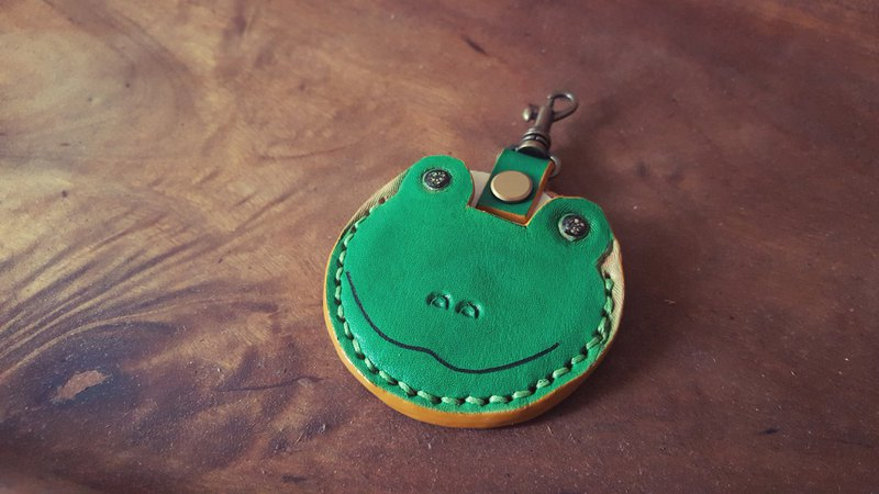 Cute Summer Green Frog Gogoro Key Pure Leather Leather Case