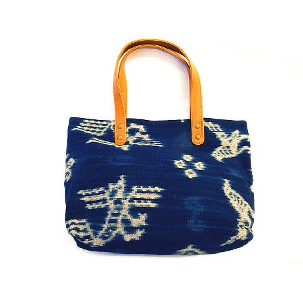 Lamb leather ikat bag(Blue)