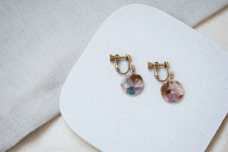 │Earrings│Small Round Flower Ear Clip-Pink Blue-Brass