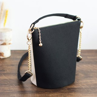 Canvas round bottom bucket bag two-color GEMINI series contrast color chain bag 4 color optional 2018 spring and summer design new product