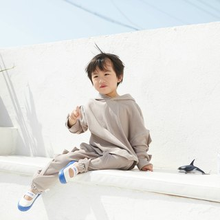 Light gray men and women children's clothing sweater pants hooded two-piece suit plain loose foreign sports jacket pants