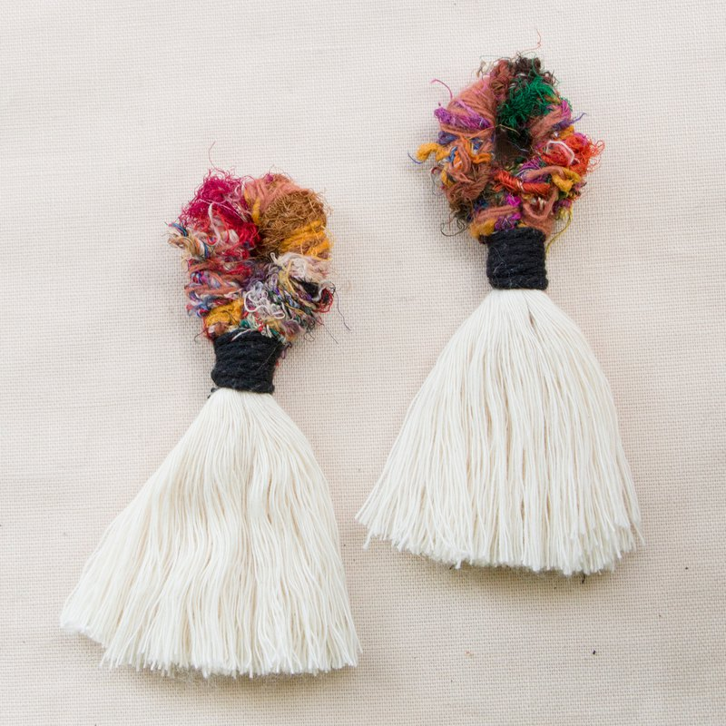 Rainforest Rhapsody - Sari Weave Tassel Big Earrings - Rainbow