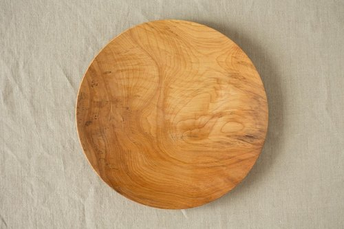 Wood 24cm of the potter's wheel ground wooden plate chestnut (land) 08