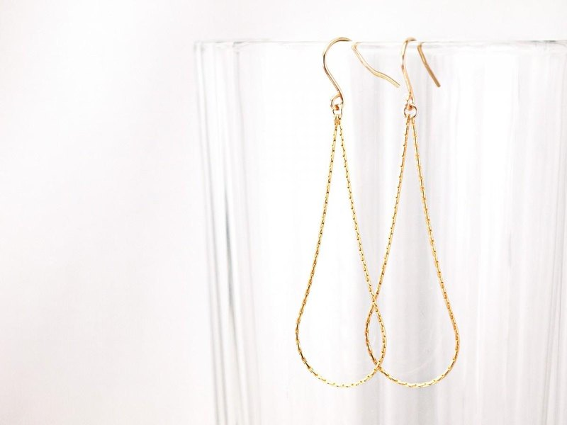 14KGF Drop Chain Earrings