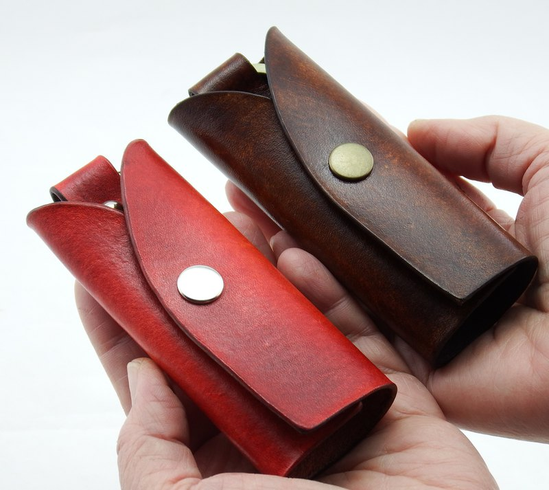 Simple Leather Key Case - Lucky Red Happiness