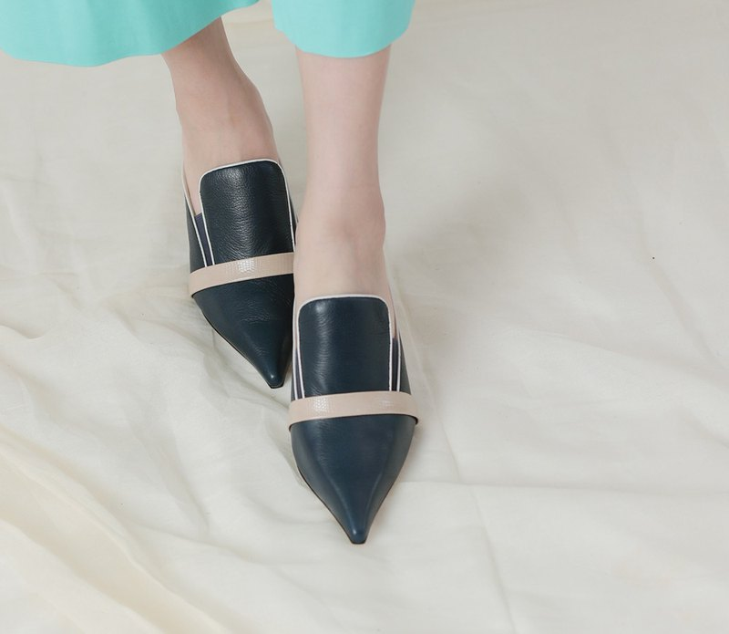 Minimalist collar colorblock coarse high heel leather sandals blue
