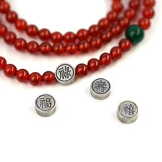 Fulu Shou hi multi-loop bracelet VISHI original s925 sterling silver red agate around 3 laps 5 beads in retro