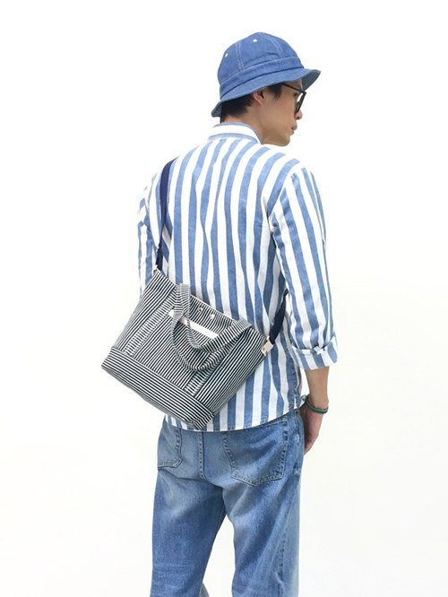 Tanabata RED CAPACITY-STRIPE-hand made leather striped denim canvas hand / shoulder / cross-body bag