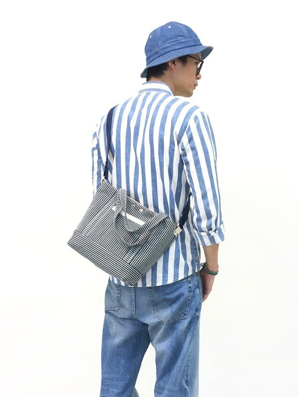 STRIPE-hand made leather striped denim canvas hand / oblique side back / tablet bag