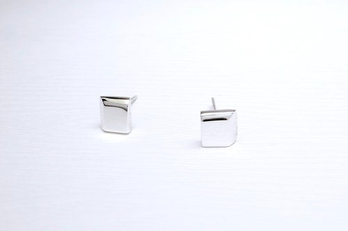"""Ermao Silver"" [Silver geometric pattern, neat square earrings] (one pair) (Christmas promotions small objects)"