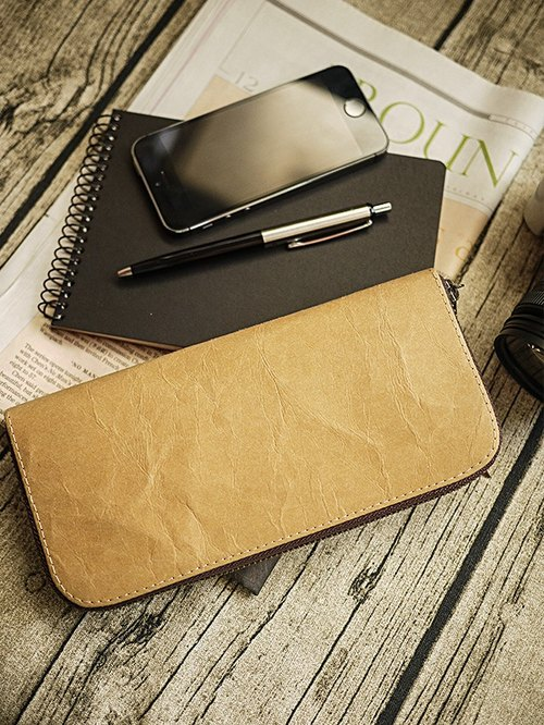 Washed kraft paper. Classic long clip / wallet / wallet / purse (primary colors) (plain black cloth as cotton)