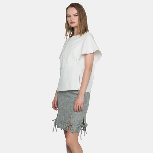 Ribbon Slit Skirt (Light Grey)