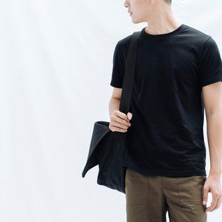 hao Black Messenger Bag Black Canvas Postman Pack